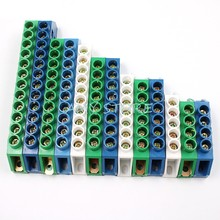 1 pc verde azul branco parafuso terminal ponte distribuição elétrica neutro fiação bloco conector 4 5 6 7 8 10 12 pinos posições
