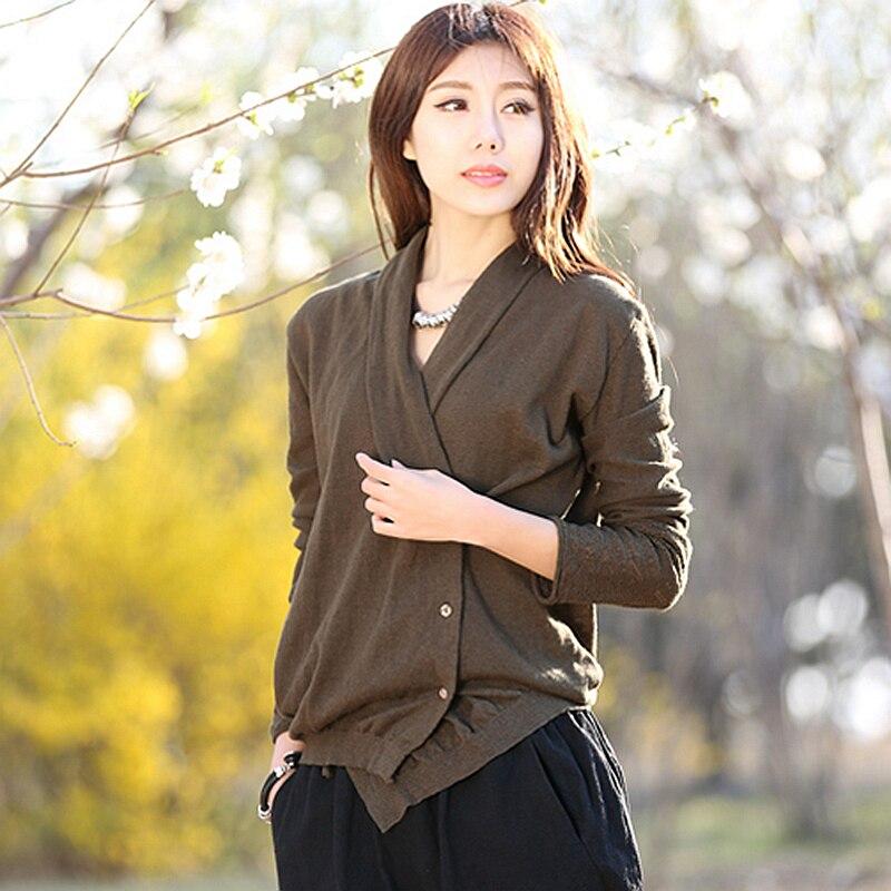 Dames Asymétrique Casual Manteau Longues 2018 bourgogne Nouvelle Mode 55 V Tricots Cardigans Conception Green Cou Lin Army Femmes 2 Manches Couleurs Mélangé wgXZxp6q