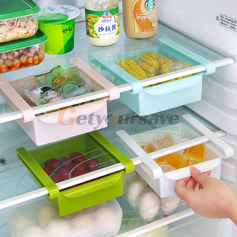Hot Sale DIY Kitchen Fridge Space Saver Organizer Slide Under Shelf Rack Bathroom Shelves Holder Storage