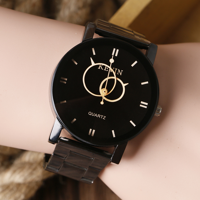 KEVIN New Design Women Watches Fashion Black Round Dial Stainless Steel Band Quartz Wrist Watch Mens Gifts Relogios Feminino купить дешево онлайн