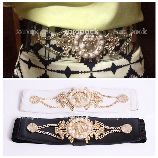 Дизайнер Бренда Золотые Украшения Упругой Широкий Прозрачный Ремень Мода ИТ Женщины Пояс Бесплатная Доставка
