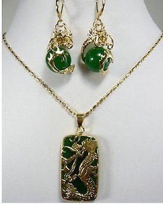 Women's Wedding Jewelry Fashion New Green Gem Dragon