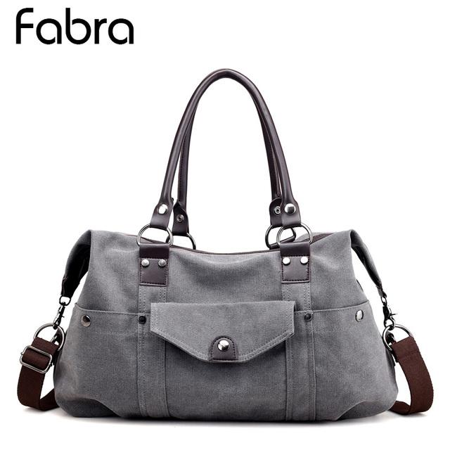 73588399b6 Fabra Canvas Travel Bag Weekend Bag Large Capacity Overnight Bag shoulder Women  Handbag Duffle messenger bags Women Travel Tote