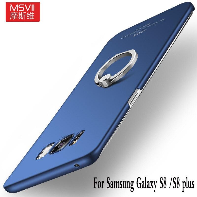 Msvii бренд для Samsung Galaxy S8 плюс + чехол для телефона с палец кольцо держатель Жесткий Чехол-подставка полная черный Кронштейн В виде ракушки