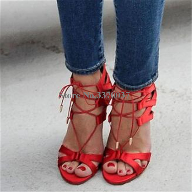 c2210018c8391 New Fashion Women Open Toe Suede Leather Stiletto Heel Gladiator Sandals  Lace-up Black Red. sku: 32979984576