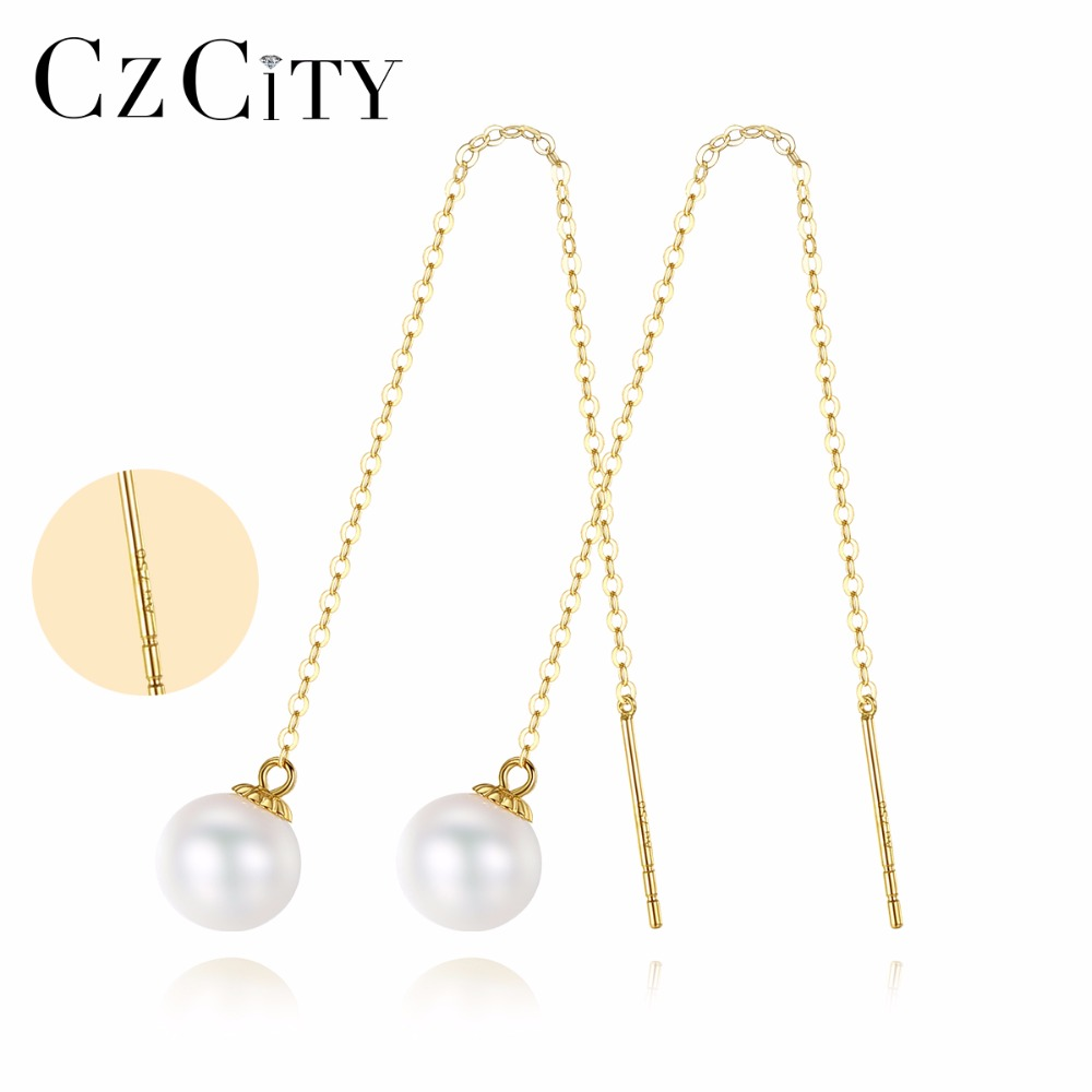 цена на CZCITY 18k Gold Long Earrings 6.5-7mm White Perfect Circle Pearl 18K Yellow Gold Chain Earrings for Women Brand Jewelry Delicate