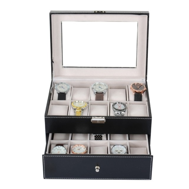 Új PU bőr karórák, szervező, fekete, 20 slot, karóra tároló - Óra kiegészítők - Fénykép 2