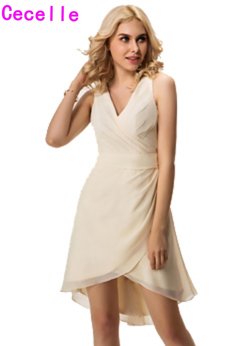 Online buy wholesale champagne chiffon bridesmaid dress from china 2017 real champagne high low short bridesmaid dresses chiffon beach sleeveless wedding party dress short front ombrellifo Choice Image