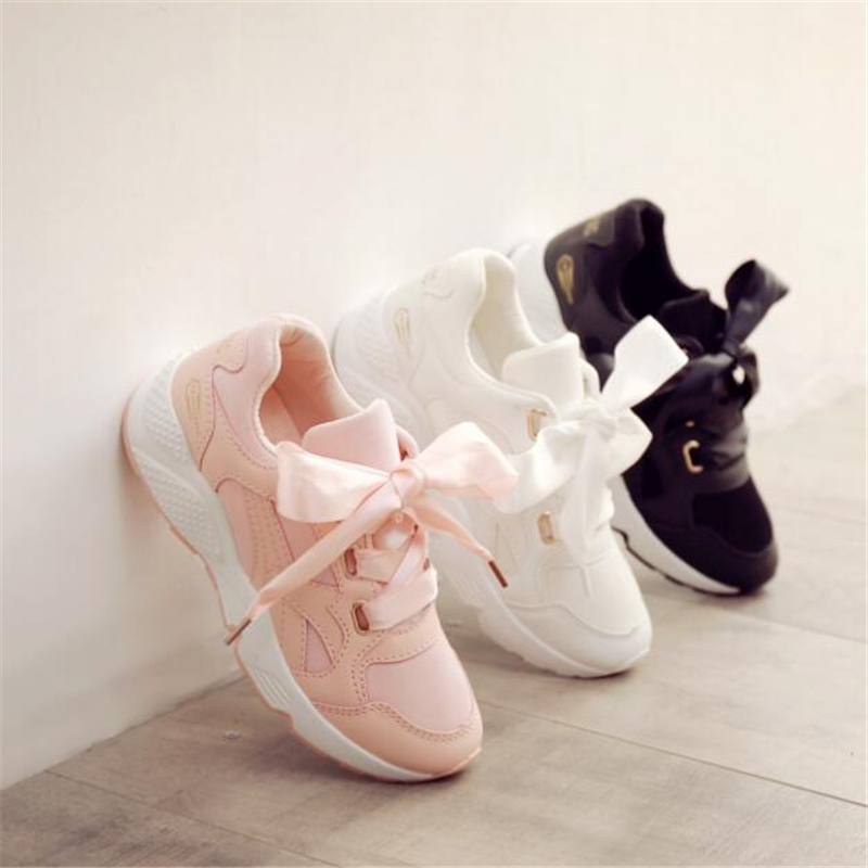 2018 spring new woman running shoes female ribbon thick sports shoes white wild  Platform sneakers increase girls white shoes