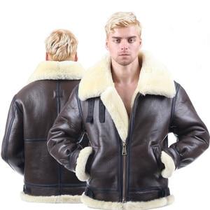 Image 1 - 男性冬の爆撃機ジャケットトップスメンズ毛皮のコート本革ジャケットコートシープスキンのコート上着服ショートデザインリアル01