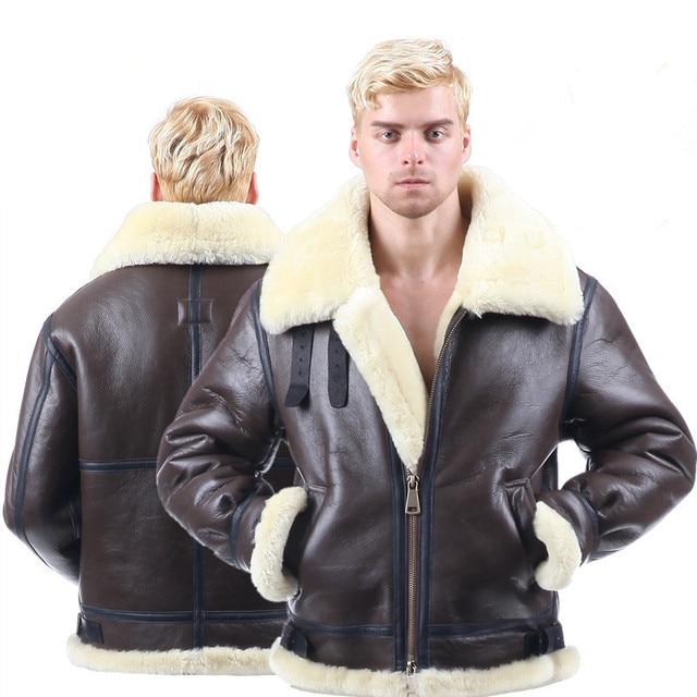 男性冬の爆撃機ジャケットトップスメンズ毛皮のコート本革ジャケットコートシープスキンのコート上着服ショートデザインリアル01