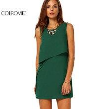 COLROVIE Party Dresses Women Clothing 2016 New Style Back Zipper Round Neck Sleeveless Ruffle Chiffon Short Dress
