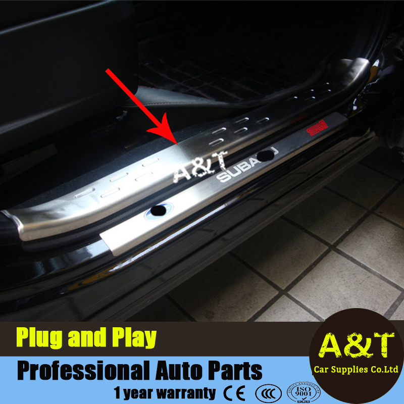 A&T car styling For Forester Stainless steel inner door sill trim strip For 2013-2015 Forester internal welcome pedal decoration 2016 car styling stainless steel handbrake sequined internal decoration for mitsubishi asx 2015