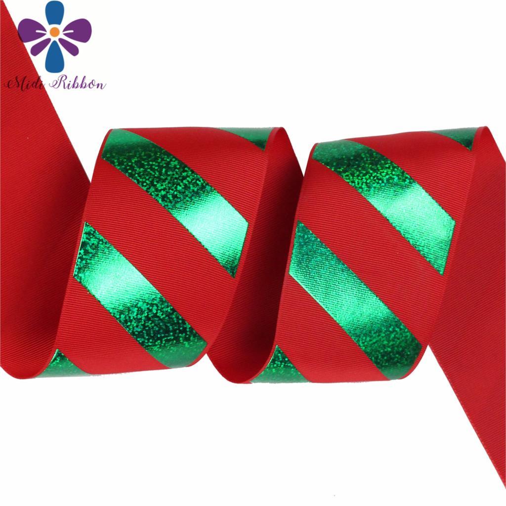 """3 """"75mm rayas verdes holograma lámina impresa cinta de grogrén rojo DIY decoración de fiesta de Navidad 50 yardas/rollo pelo Bowknots-in Cintas from Hogar y Mascotas    3"""