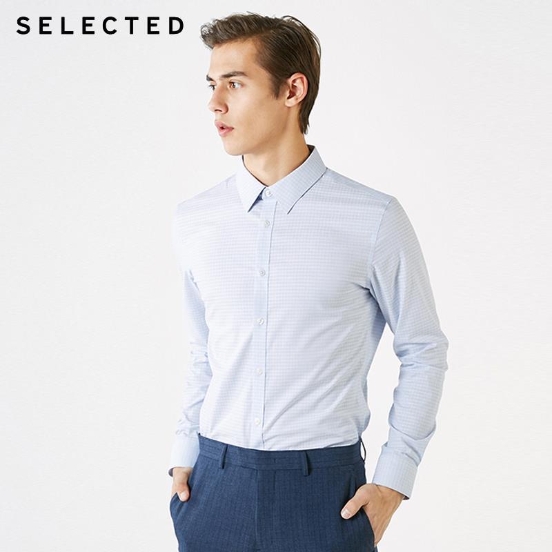 SELECTED Men's Dark Figured Slim Fit Long-sleeved Temperament Business Casual Shirts T|419105505