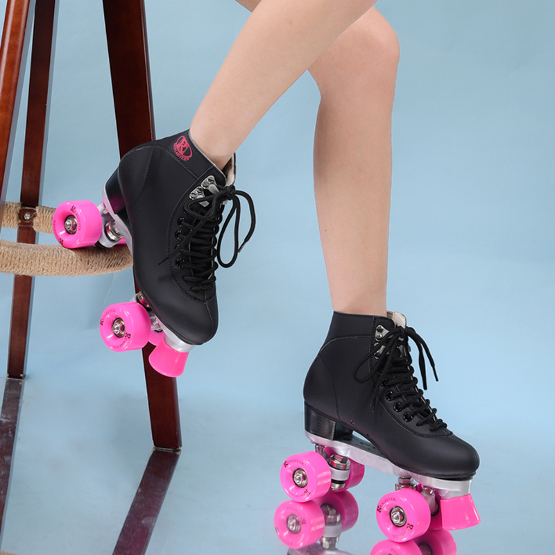 RENIAEVER double roller skates 4 skating shoe pink wheels black shoes free shipping