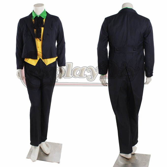Cosplaydiy Arkham Asylum Joker Cosplay Costume Black Version For Adult Men Halloween Outfits Custom Made