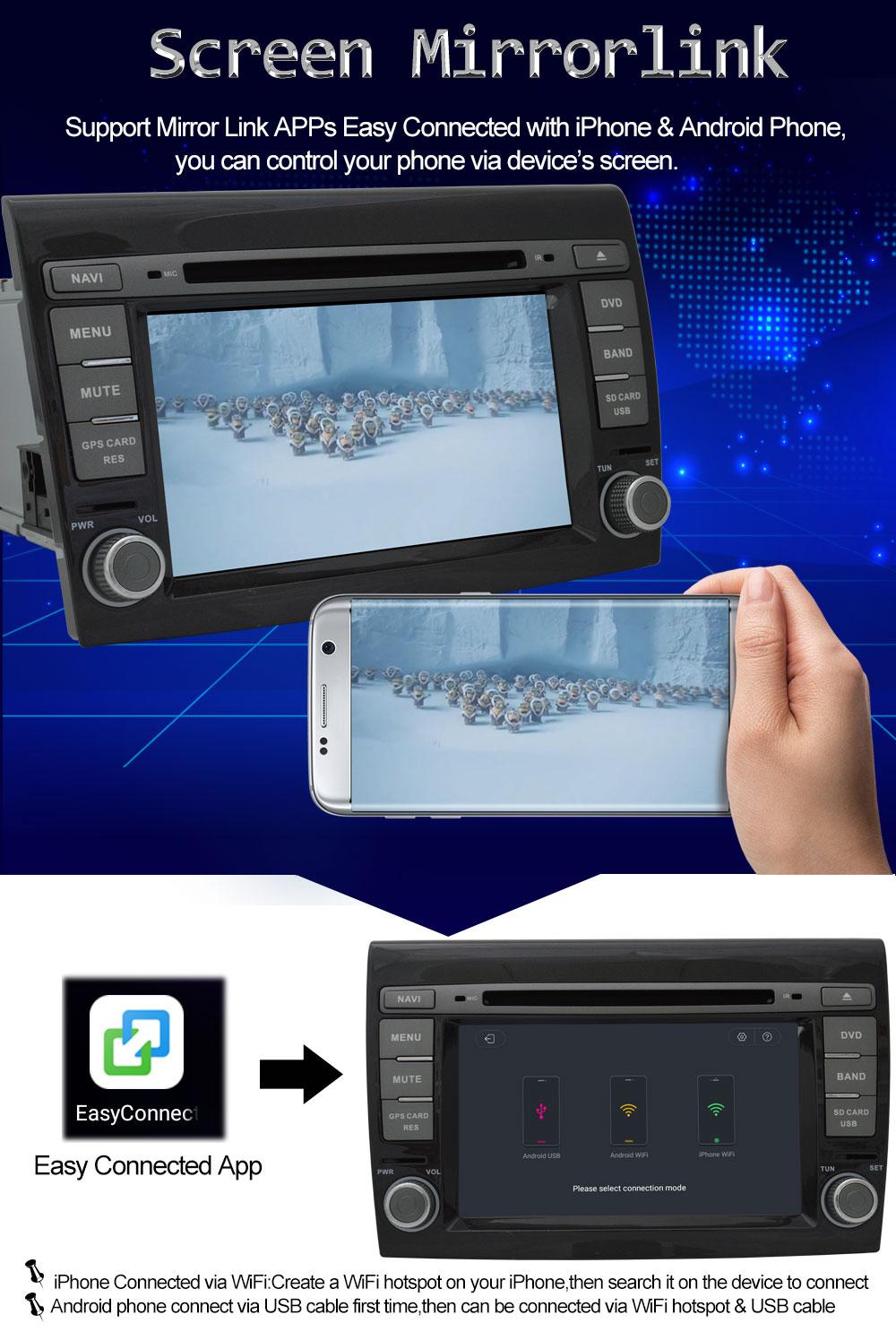 4G WIFI HD 1024X600 Android 8.0 Octa Core 4GB RAM CPU Car DVD Player ...
