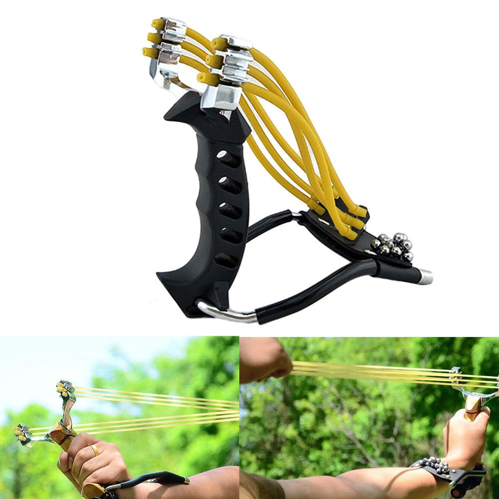 New Powerful Sports Slingshot Rubber Bands Outdoor Aluminum Alloy Sling Shot Slingshot Catapult Hunting Equipment