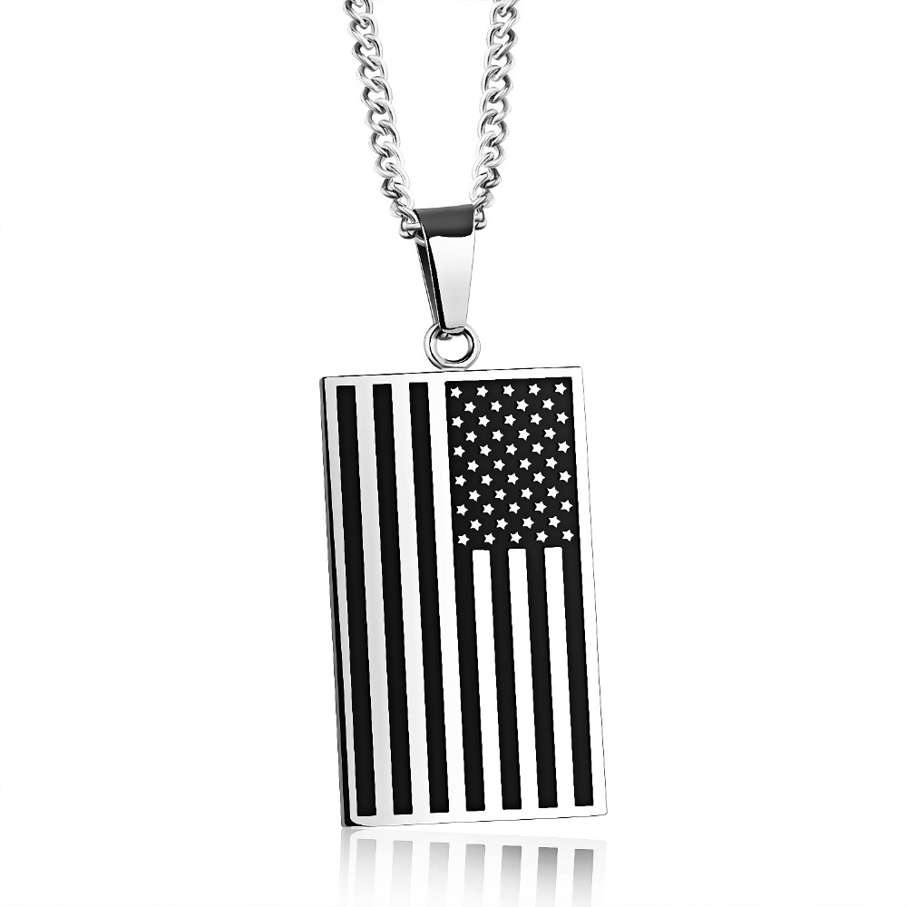 Unisex Stars And Stripes Pendant Necklace Gold Color Stainless Steel 2