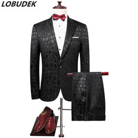 Black men's sets Prom Party Fashion Slim Blazers Outerwear Nightclub Bar singer performance show stage wear male Host costumes