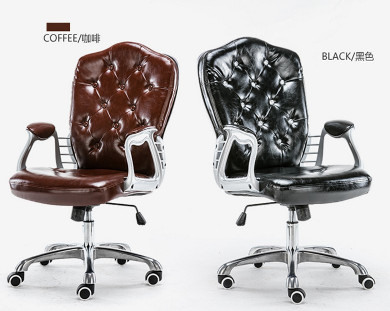 Image 3 - Multi Color Luxury Royal PU Home Computer Chair velvet Fabric Middle Back Manager Chair Modern Ergonomic Office Task Chair C60-in Office Chairs from Furniture