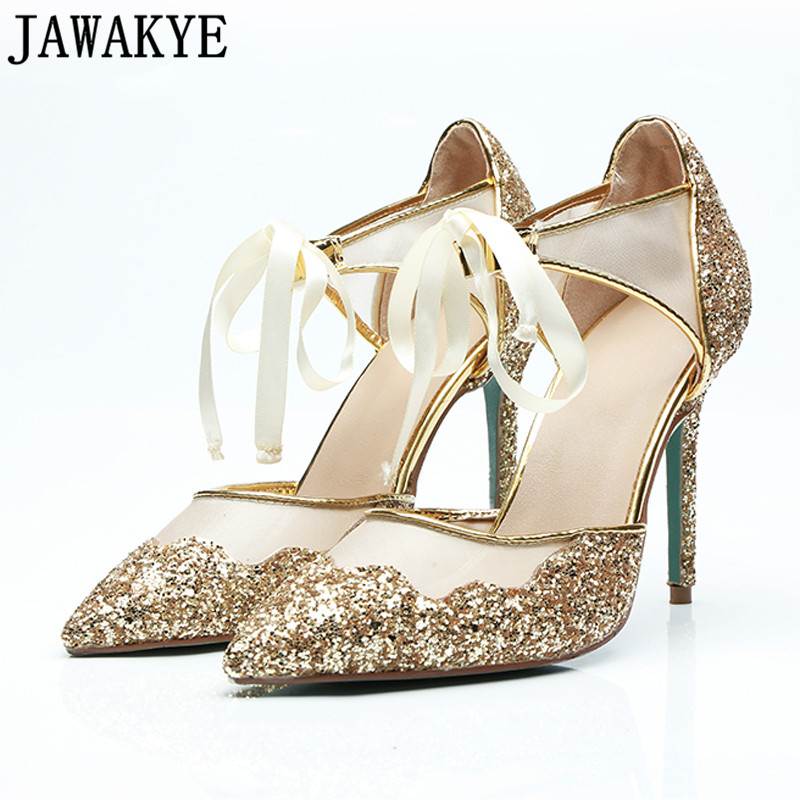 Air mesh pumps women Pointed toe bling bling sequins <font><b>12</b></font> <font><b>cm</b></font> <font><b>high</b></font> <font><b>heels</b></font> bridal wedding shoes ribbon cross tied sexy stilettos image