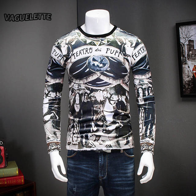 1b1f51de7a2f Fashion T Shirt Noir Homme Long Sleeve Warm Thick Mens Clothing 3D Printed  Teatro Funny Tee Shirt Homme With Fleece M-4XL