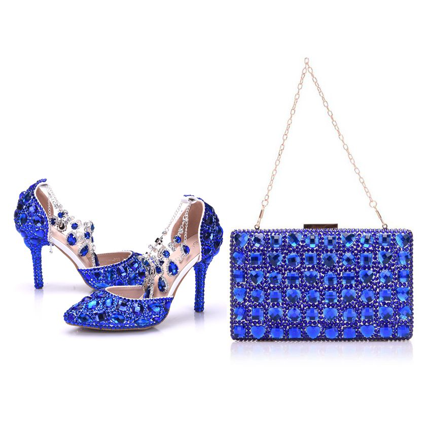 Crystal Queen Lady Wedding Shoes With Matching Bags Set Royal Blue Crystal Bride Payty Dress Shoes Purse Women High Heel Sandals aidocrystal luxury handmade crystal sunflower high heel women italian shoes with matching bags
