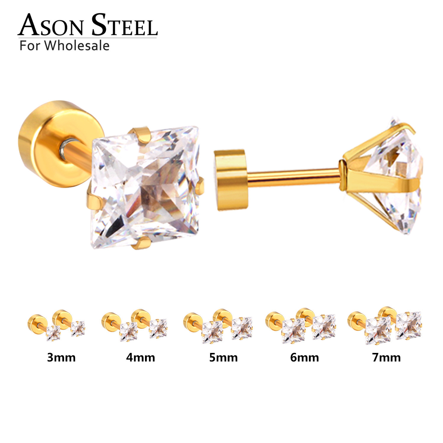 ASONSTEEL 5Pairs Square Cubic Zircnia Earring Sets Mixed Size 3mm to 7mm Stainless Steel Earrings for Women Anti-allergy Jewelry