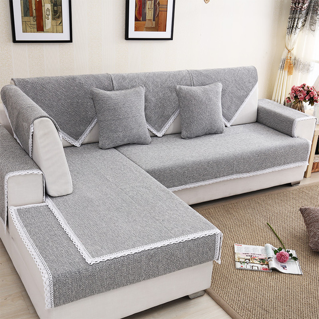 Sectional Sofa Armrest Towel Cotton Linen Slip resistant Couch ...