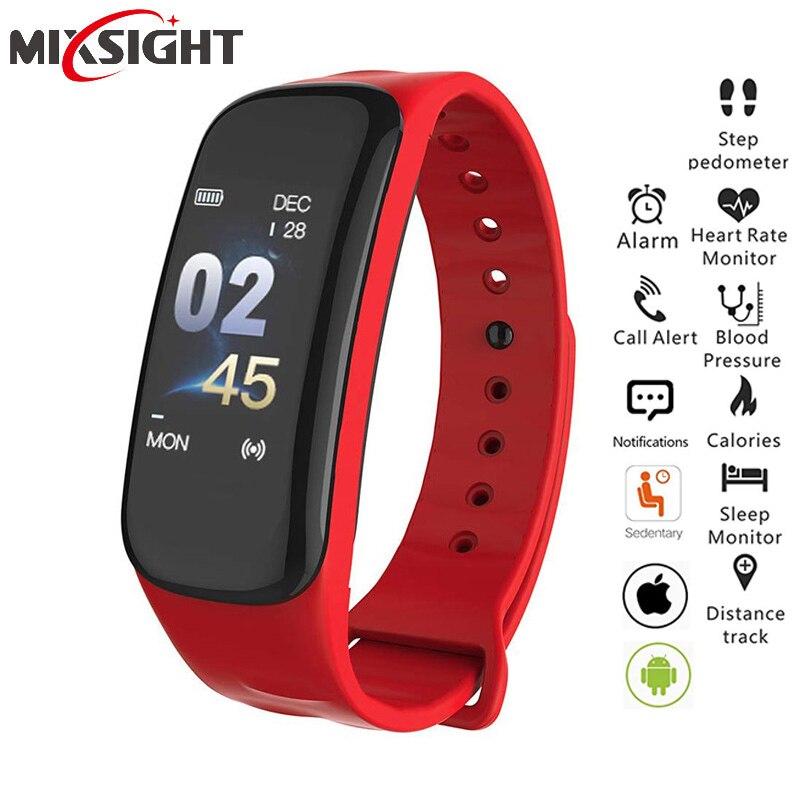 C1plus Смарт часы-браслет для занятий фитнесом, измеритель артериального давления, монитор сердечного ритма трекер сна Браслет для IOS и Android, Пр...