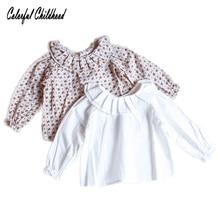 Блузка для малышей от 0 до 24 месяцев Уютная хлопковая рубашка для новорожденных детей на весну и осень топы с плиссированным воротником и длинными рукавами для девочек, детская верхняя одежда