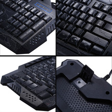 Darshin M300 Russian/English Backlit Keyboard LED 3-Color USB Wired Colorful Breathing Waterproof Computer Crack Gaming Keyboard