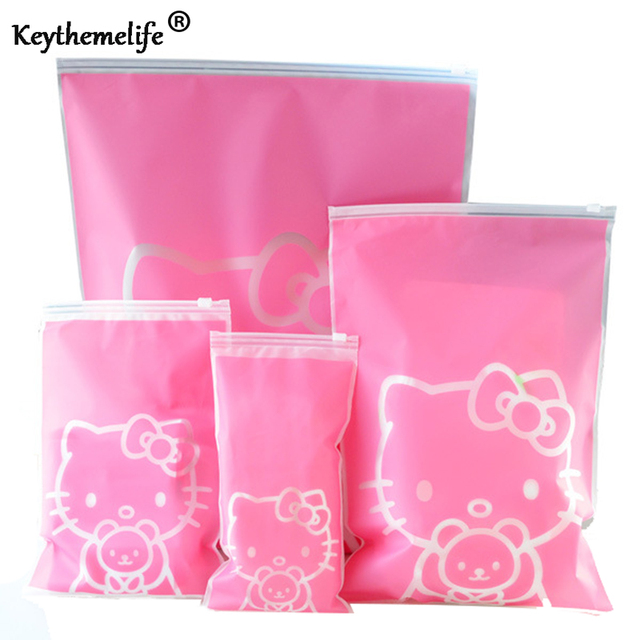 5pcs/Set Travel Storage Bags Hello kitty Luggage Clothes packing Tidy Organizer Pouch EVA Sealed Bag B