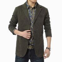 Blazer men Casual Blazers Cotton Denim Parka Men's slim fit Jackets Army Green Khaki Large outdoors outwear coat Size XXXL 4XL