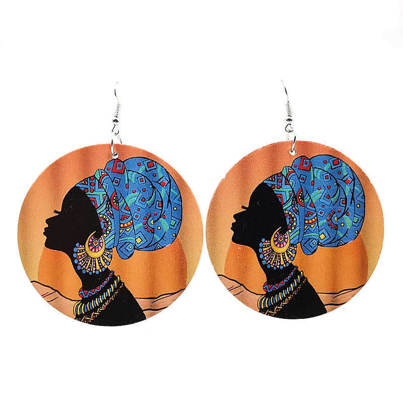 YD&YDBZ 2019 New Ethnic Style Big Round Drop Earrings For Women Wood Printing Earrings Fashion Punk Girls Jewelry Accessories