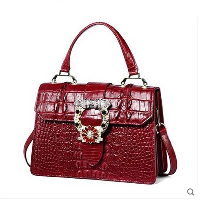 yuanyu New Alligator Skin Thai crocodile  leather women handbag genuine Large capacity single shoulder oblique cross bag female yuanyu 2018 new hot free shipping real thai crocodile women handbag female bag lady one shoulder women bag female bag