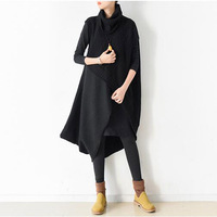 Women Linen knit stitching cashmere Casual Dress Two pieces Long Sleeve Vintage Winter Warmer thicken Dress Women Solid Dresses