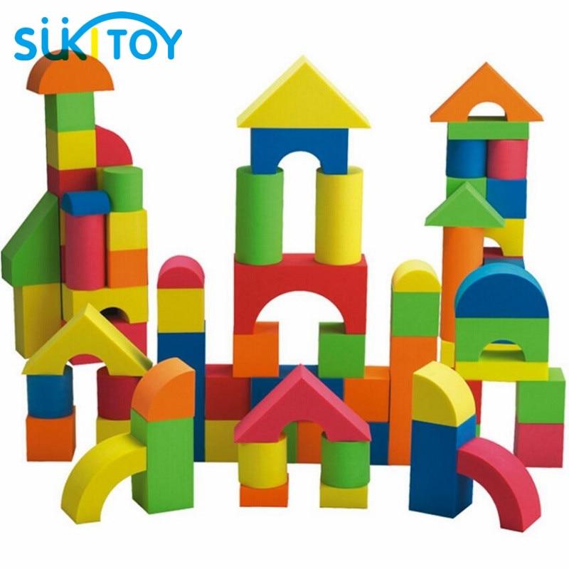 SUKIToy Kid's EVA Soft Building Blocks Set 41PCS High Quality With Good Packing for Boys girls gift colourful Montessori SC007 48pcs good quality soft eva building blocks toy for baby