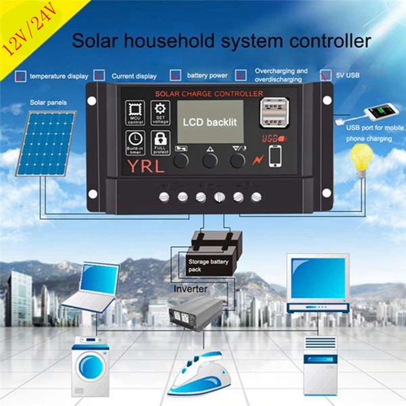 Chargers 10a/20a/30a/40a/50a/60a Solar Panel Controller Battery Charge Regulator 12v/24v Auto With Dual Usb Solar Panel Controller Cheapest Price From Our Site