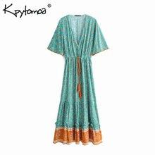 2cc693985bb KPYTOMOA Boho Chic Vintage Floral Print Maxi Pleated Dress Short Sleeve Beach  Dresses. US  20.01   piece Free Shipping