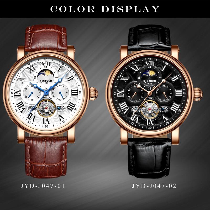 Kinyued marca de moda tourbillon relógio mecânico