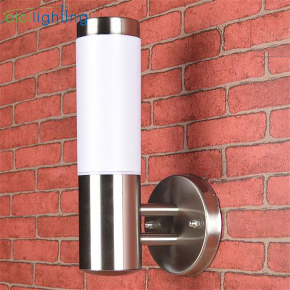 Outdoor Led Wall Light Silver Stainless Steel + Milky Lampshade Waterproof Out Door Porch Lamp E27 LED Applique Murale Luminaire
