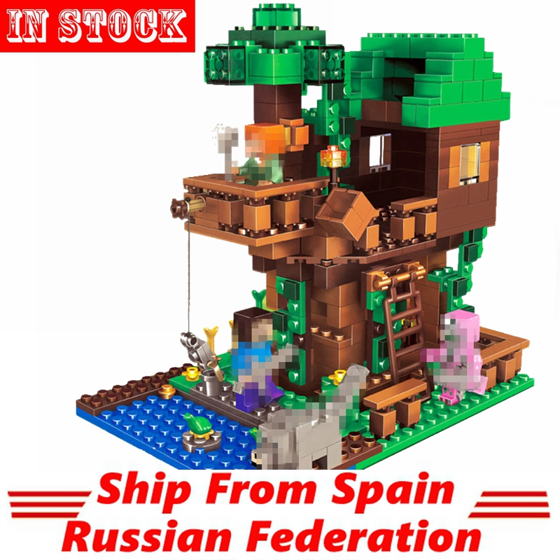 My World Building Blocks Compatible Legoed Minecrafted Jungle Lodge Tree Waterfall Figures Educational Toys For Kids 806pcs+ Model Building Blocks