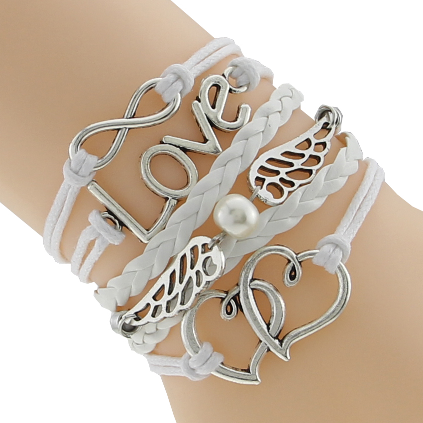 Imported From Abroad Infinity Love Heart Angel Wings Handmade Braided Personalized Drop Shipping Charm Bracelet Bangle Cuff F-ctslb0123 Jewelry & Accessories