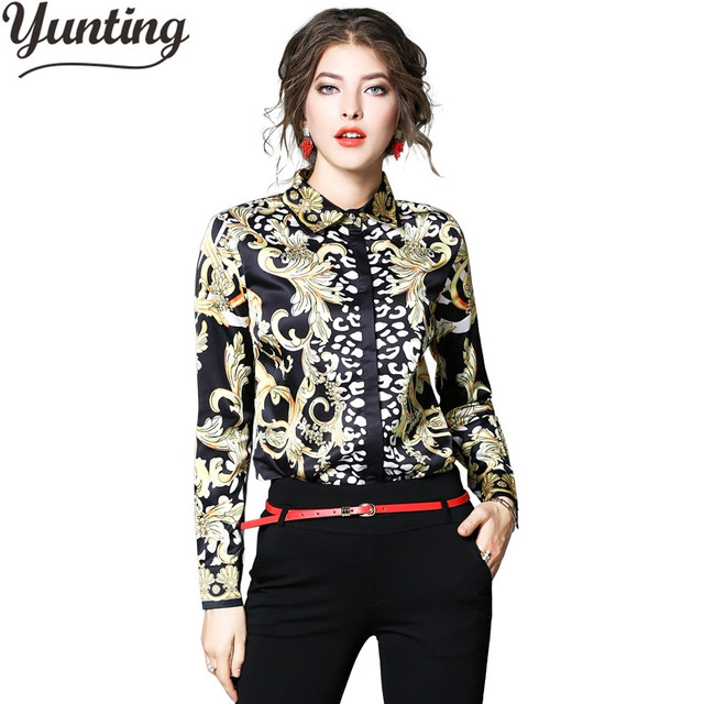 9be81a46b1 Otoño moda señora Oficina camisa manga larga Mujer Vintage Floral estampado  chifón blusa Mujer Tops Chemise Mujer