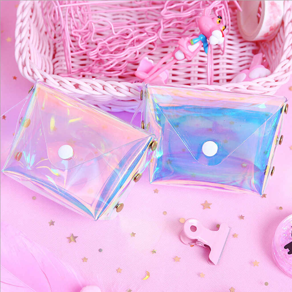 Jelly Coin Purse Ins Girl Heart Transparent Purse Card Package Hot Women's Fashion Laser bags Flap Bag Patent Leather Handbag #S