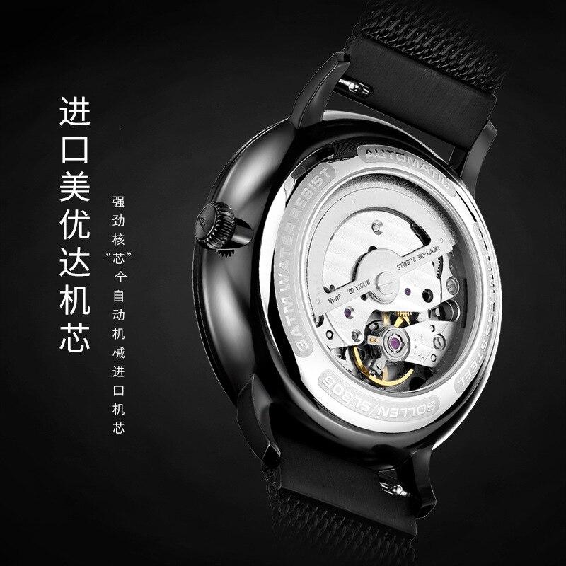 SOLLEN أعلى للرجال ساعات الأعلى العلامة التجارية الفاخرة التلقائي الميكانيكية ووتش الرجال الصلب الكامل الأعمال للماء أزياء الرياضة الساعات-في الساعات الميكانيكية من ساعات اليد على  مجموعة 2