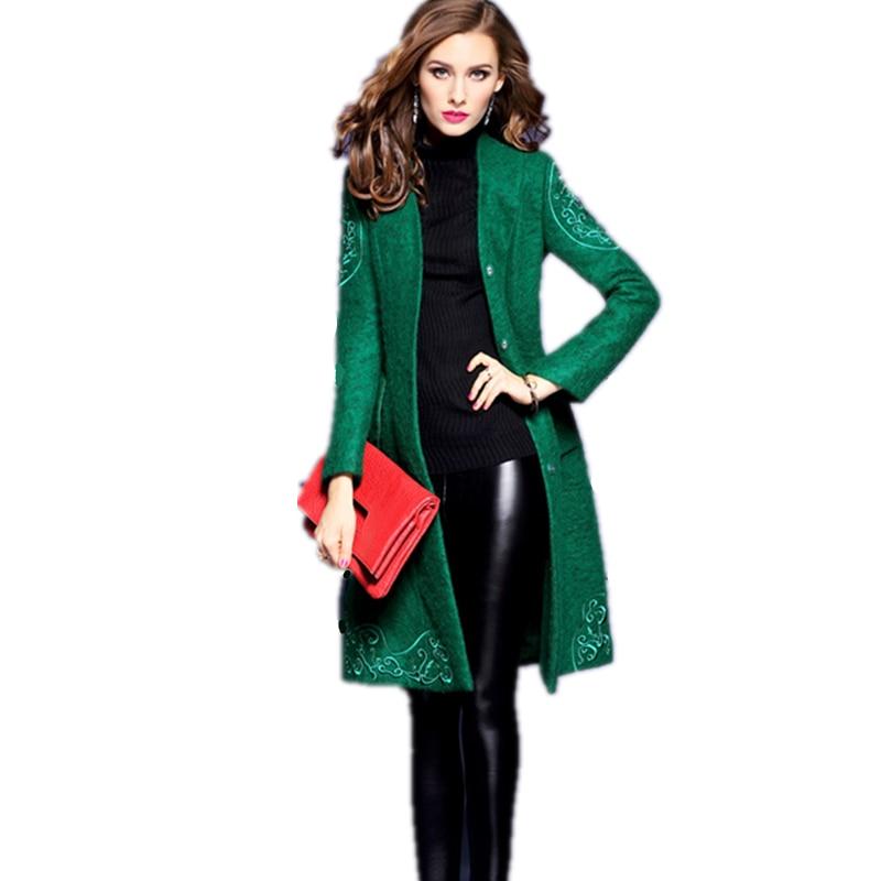 2017 Femmes Style Nouveau Light Bouton Femme Mode green Hiver Soild Veste Automne V Lyl101 Laine Grey Long Vestes De cou Manteau Tops rrZzqdH